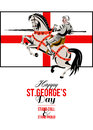 Stand Tall Stand Proud Happy St George Day Retro Poster Stock Photo