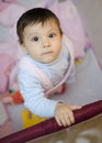 Stand up baby black eyed little in a playpen standing and looking at camera Stock Photos