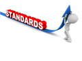 Standard rising standards concept man pushing up arrow of standards on white Stock Photography
