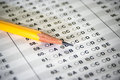 Standardized test with pencil yellow Stock Images