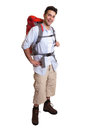 Standing backpacker  complete body Stock Photos