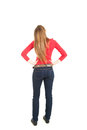 Standing backwards young woman looking up Royalty Free Stock Photos