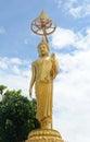 Standing budda golden at wat kiriwong nakhonsawan thailand Royalty Free Stock Photos