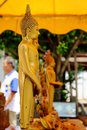 Standing buddha image veneration of buddhism in the songkran festival songfestival Stock Image
