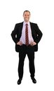 Standing business man in suit isolated on white Stock Photography