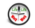 Standing on clock hands with work and life face whte background Stock Photos