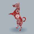 Standing Dog with stylized flowers over grey Royalty Free Stock Photo