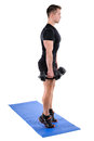 Standing Dumbbell Calf Raise with Dumbbels workout Royalty Free Stock Photo