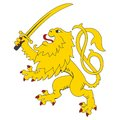 Standing heraldic lion with sword Stock Image