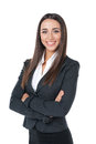 Standing isolated on white pleasant businesswoman smiling with hand crossed Stock Photos