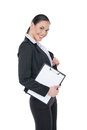 Standing isolated on white smiling businesswoman with tablet Stock Photos