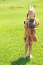 Standing little indian girl with pitcher