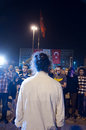 Standing man protest in istanbul turkey june erdem gunduz a turkish choreographer stages hour vigil and is joined by people during Royalty Free Stock Photography