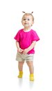 Standing one year kid in tshirt isolated on white Stock Photos