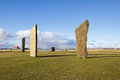 Standing stones of stenness orkney scotland a neolithic stone circle which is part of the heart of neolithic orkney world heritage Stock Photos