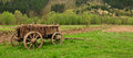 Standing traditional wooden farm carriage Stock Photos
