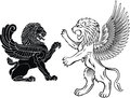 Standing and Winged Lion Stock Images