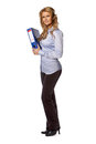 Standing woman carrying binder Royalty Free Stock Photos