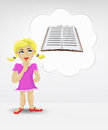 Standing young girl thinking about encyclopedia vector illustration Royalty Free Stock Images