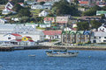 Stanley falkland islands looks very peaceflul colored houses in with sailing boat on the water Royalty Free Stock Photography