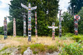 Stanley Park Totem Poles. Royalty Free Stock Photo