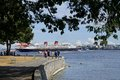 Stanley park in vancouver is s most visited attraction and the seawall path for cyclists and joggers gives great views of the Royalty Free Stock Images