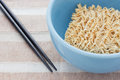 Stant noodles blue bowl of instant Stock Photos