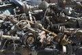 Stapel von rusty car parts Stockfotos