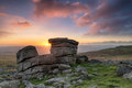 Staple tor on dartmoor granite rock formations at national park in devon Royalty Free Stock Photos