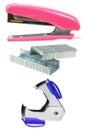stapler,staples,staple remover isolated on white Royalty Free Stock Photo