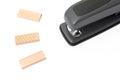 Staples and stapler detail of Stock Image