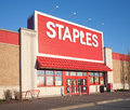 Staples storefront dartmouth canada may is an office supply retail outlet with over stores in countries Royalty Free Stock Photos