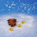 Star Anise on Blue Royalty Free Stock Photography