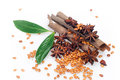 Star anise and cinnamon sticks Royalty Free Stock Photography