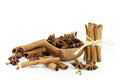 Star anise and cinnamon sticks in a wooden bowl with Stock Photography