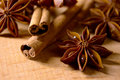 Star Anise and Cinnamon Sticks on Wooden Table Royalty Free Stock Photo