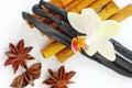 Star anise, cinnamon, vanilla Royalty Free Stock Photo