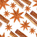 Star anise, cinnamon watercolor illustration isolated on white background, Hand drawn seamless pattern badian, Design