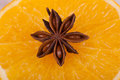 Star anise and orange closeup Royalty Free Stock Image