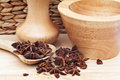Star Anise in rustic kitchen setting Royalty Free Stock Photos