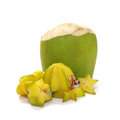 Star apple and coconut isolated tropical fruit Royalty Free Stock Photo