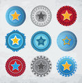 Star badges set of round eps Royalty Free Stock Photography