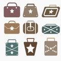 Star bag flat icons set