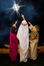Star of Bethlehem and wisemen Royalty Free Stock Photo