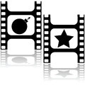 Star or bomb concept illustration showing a film strip with a and a for good and bad movies Stock Photography