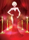 A star is born this classic blonde bombshell walks the red carpet and dazzles hollywood with her red couture fashion dress and Royalty Free Stock Photo