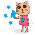 Star borrow smile cat Royalty Free Stock Photo