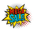 Star bubble comic style with Mega Sale text vector illustration