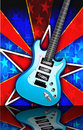 Star Burst Blue Rock Guitar Illustration Stock Images