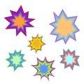 Star bursting boom.Comic book explosion set. Hand drawn vector